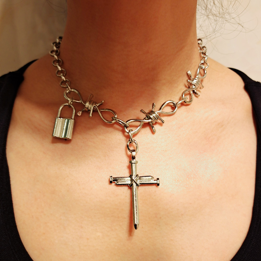 KMVEXO Punk Cool Heavy Metal Wire Brambles Big Thick Chain Choker Necklaces Women Goth Cross Lock Pendant Necklace Mens Jewelry