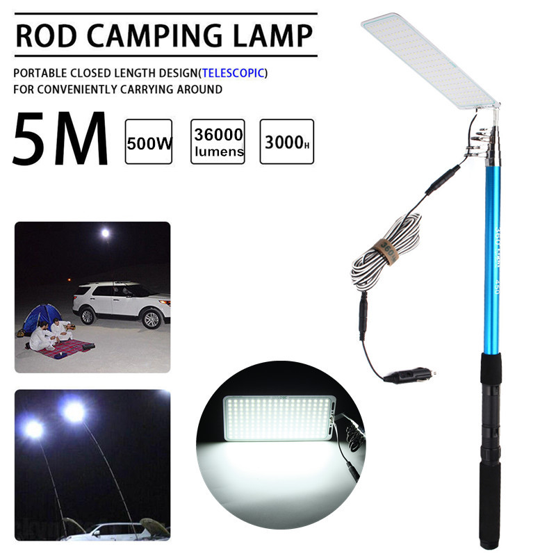 DC 12V 500W Adjustable 5M LED Telescopic Fishing Rod Fishing Lamp Car Camping Light Outdoor Lantern Street Light Road Trip Lamp