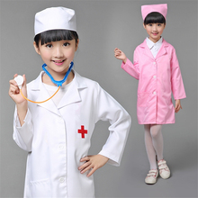 DM  Hospital Costume Halloween Children Cosplay for Girls Nurse Costumes Boys Doctor Uniform Clothing Set Performance Work Wear