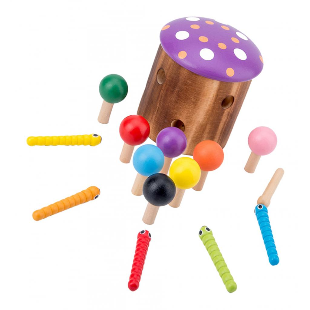 Wood Mushroom Catcher Toy Colorful Assorted Shape Toy For Kids Education Toy
