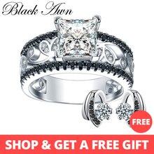 [BLACK AWN] Настоящее 925 пробы Серебряное Женское Обручальное Кольцо трендовые обручальные кольца для женщин ювелирные изделия из стерлингового серебра C020