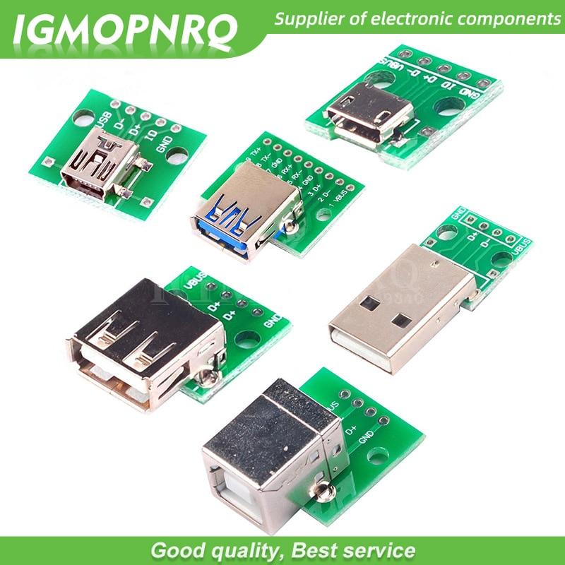 5pcs Micro Mini USB USB A Male USB 2.0 3.0 A Female USB B Connector Interface to 2.54mm DIP PCB Converter Adapter Breakout Board