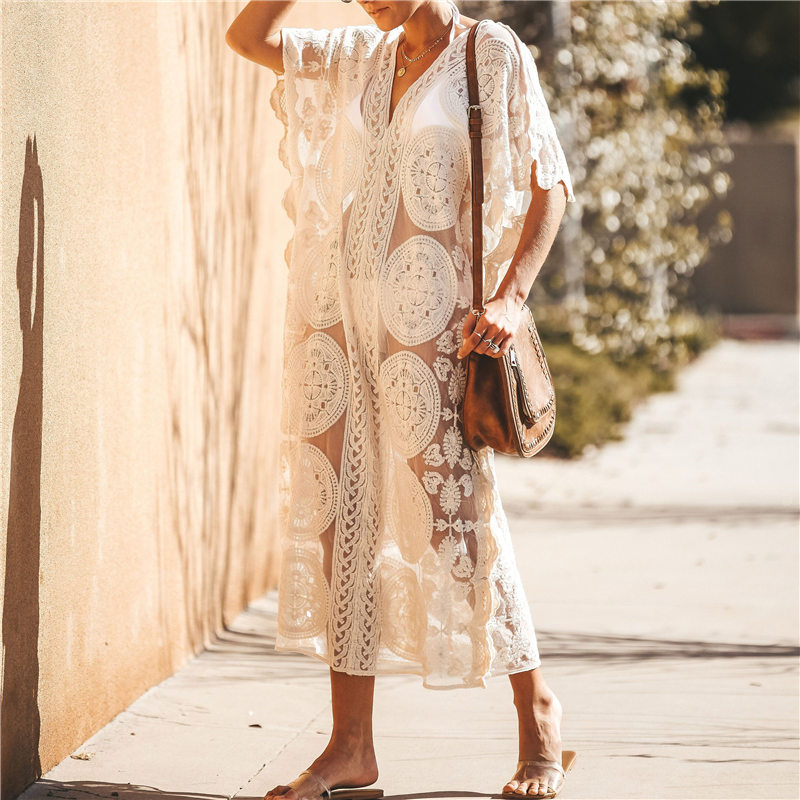 Image 1 - 2020 Sexy See Through Deep V Neck Loose Summer Beach Dress Chiffon Tunic Women Plus Size Beachwear Sarongs Plage Long Dress N880Dresses   -