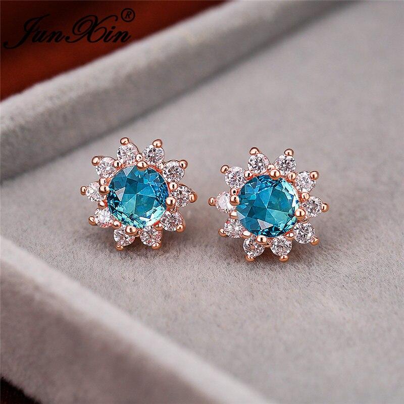 Cute Sunflower Earrings Two Tone Green Blue Stone Rainbow Fire Crystal Wedding Stud Earrings For Women Rose Gold Ear Jewelry Cz