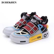 Hip Hop Fashion Autumn Chunky Sneakers Men Breathable Mesh Casual Shoes Kanye Hook Loop EVA Tenis Masculino Adulto