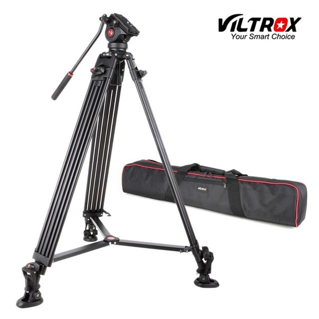 VILTROX VX 18M 1.8M Professional แบบพกพา Heavy Duty Stable อลูมิเนียมลื่น Video + ขาตั้งกล้องไฮดรอลิกหัววิดีโอกล้อง DV