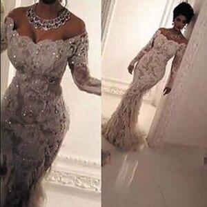 Image 1 - SuperKimJo vestidos De boda blancos, 2020, Túnica De Mariee, Aplique De encaje De sirena De lujo con cuentas, vestidos De boda brillantes 2021