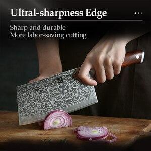 """Image 5 - XINZUO 6.5 """"dilimleme bıçağı şam paslanmaz çelik büyük cleraver bıçaklar yüksek kaliteli japon çelik şef bıçağı Rrosewood kolu"""
