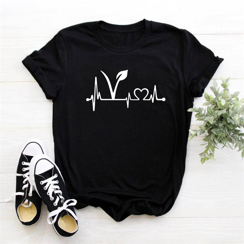 Tshirt Women Vegan Heartbeat Lifeline Print Casual Funny T Shirt For Lady Girl Top Tee Female Vegetarian T-shirt