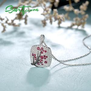 Image 5 - SANTUZZA Silver Pendant For Women 925 Sterling Silver Sparkling Pink Cherry Tree CZ Delicate Fashion подвеска кулон Fine Jewelry