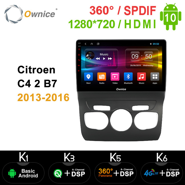 Ownice 8Core Android 10.0 Car DVD GPS Navi Player Car Stereo k3 k5 k6 For Citroen C4 2 B7 2013-2016 Radio 4G LTE DSP Optical 360