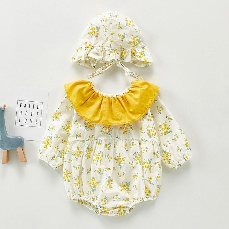 Одежда для маленьких девочек, комбинезоны с длинным рукавом и кукольным воротником для маленьких девочек с цветочным принтом, Комбинезоны ...