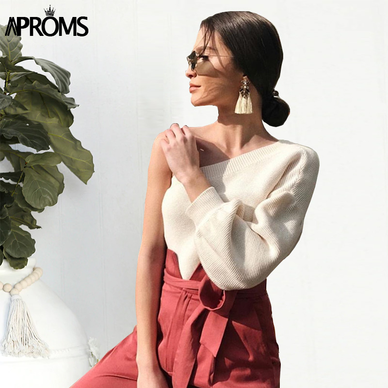 Aproms Elegant One Shoulder Knitted Sweater Female Long Sleeve Ribbed Pullovers Women 2019 Winter Casual Beige Jumper Pull Femme