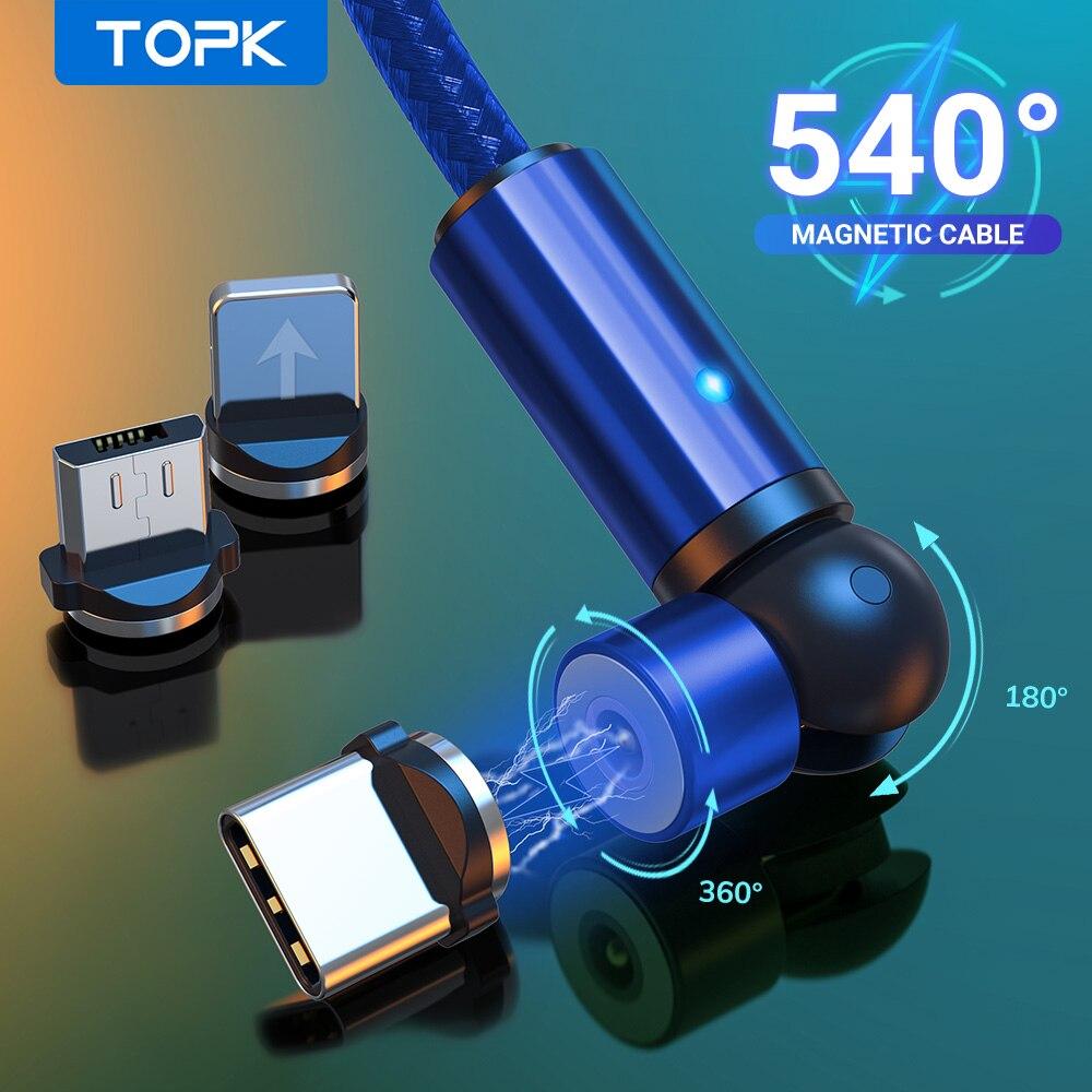 Магнитный кабель TOPK 540, usb type C, Магнитный зарядный кабель Micro usb для iPhone 7 8 11 6 Plus XR XS XiaoMi samsung|Кабели для мобильных телефонов|   | АлиЭкспресс - Топ аксессуаров для смартфонов