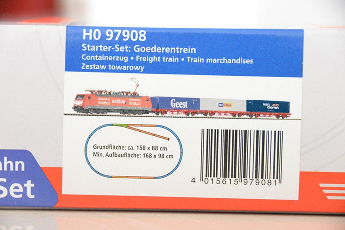 Набор немецких моделей поезда BR189 Локомотив: контейнерный вагон * 3 + трек + контроллер Хо пропорции детские игрушки - 4