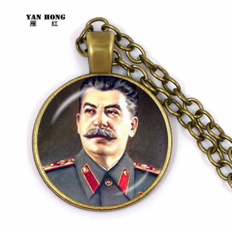 Novo clássico herói soviético stalin cúpula de vidro pingente colar russo nacional emblema comunista colar para mulher e men2019