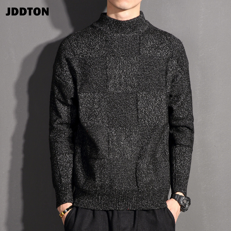 JDDTON Men's Plaid Knitted Sweater Casual Clothing Christmas Sweaters Japanese Loose Coat Streetwear Pullover Male Clothes JE171