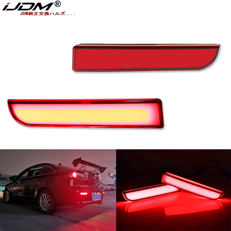 IJDM Full LED Bumper Reflector Lights For Mitsubishi Lancer Evo X Outlander, For Tail/Brake,Turn Signal Lights & Rear Fog Lamps