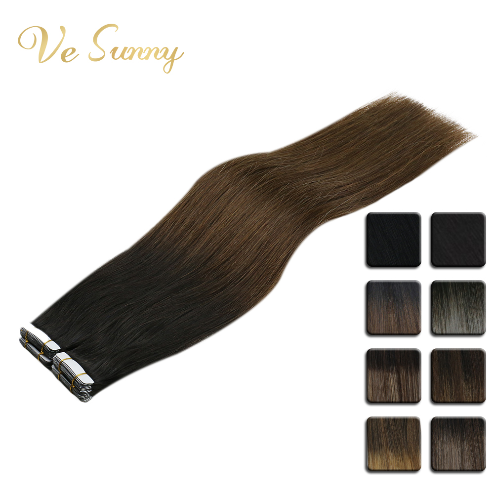 VeSunny Tape In Human Hair Extensions 100% Real Hair Seamless Hair Black Root Balayage Brown Mix Blonde  Tape Extensions