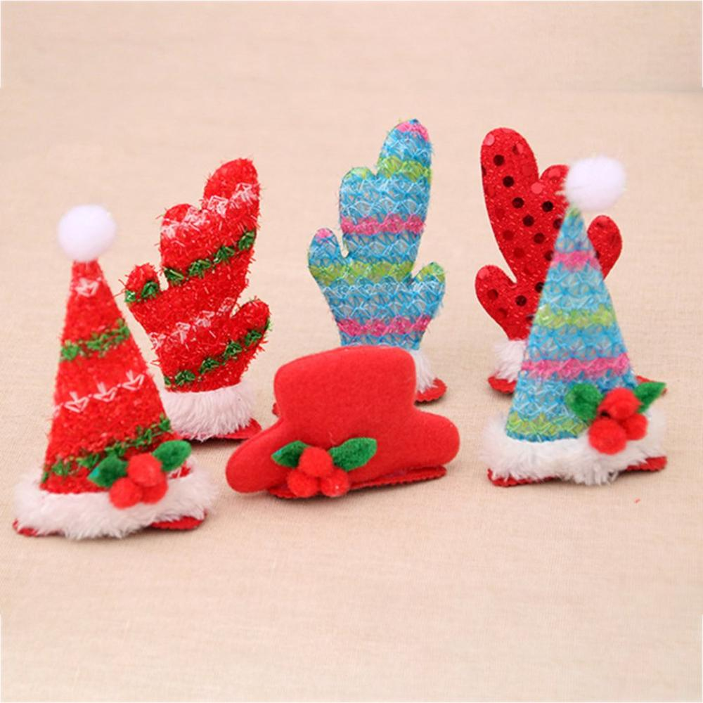 Christmas Children's Gifts Christmas Hair Clips Christmas Hair Accessories Top Hat Shape With Sequins Stripes