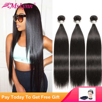 Straight Hair Bundles Brazilian Hair Weave Bundles Human Hair Bundles 1/4 or 3 Bundles Hair Extensions Natural Black Mslynn - DISCOUNT ITEM  47% OFF All Category