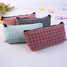 New Lattice Pencil Case Large Capacity Bag Creative Korean Solid Color Fabric Pen Pouch Box School Office Stationery