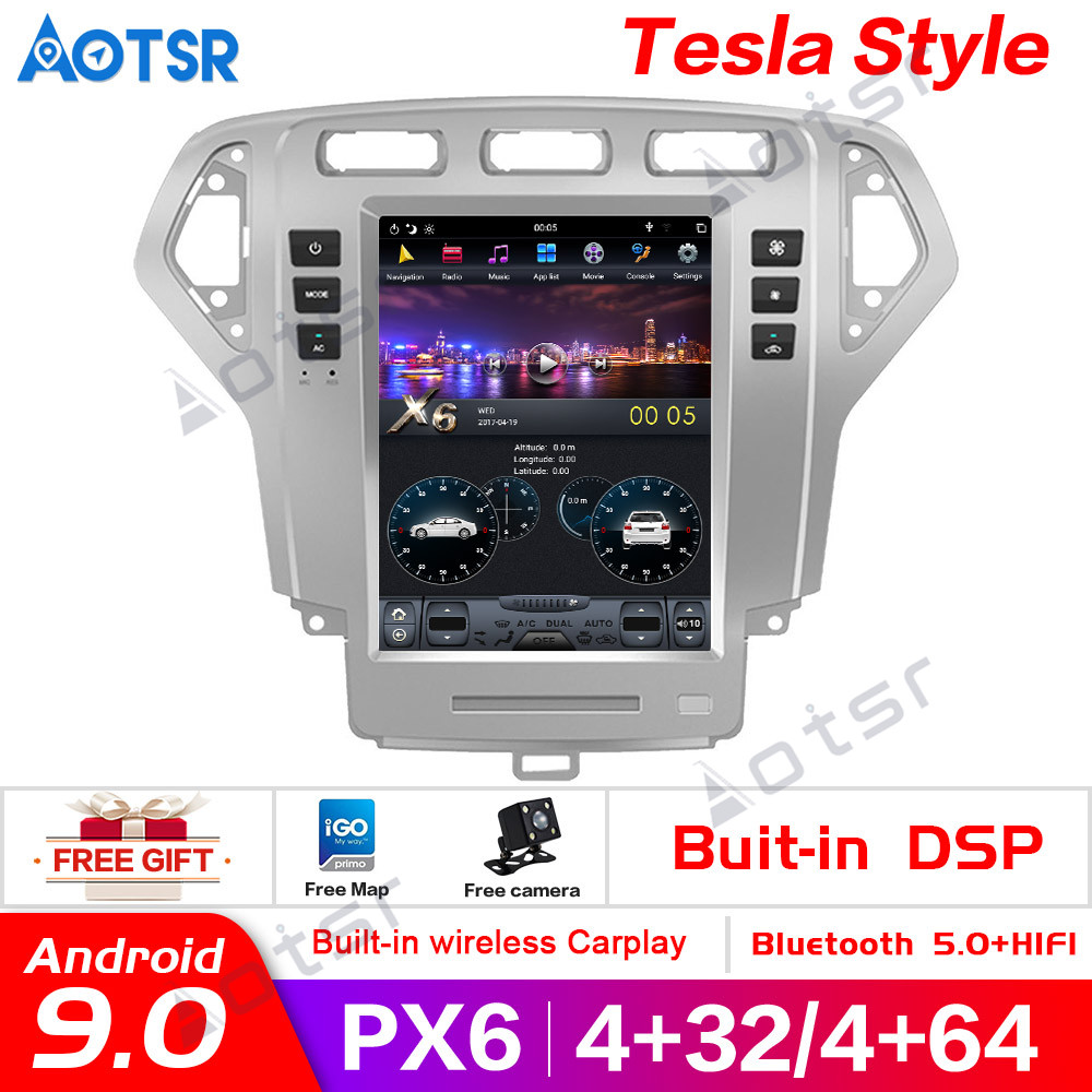 PX6 Vertical screen <font><b>Android</b></font> 9.0 <font><b>Car</b></font> <font><b>GPS</b></font> <font><b>Navigation</b></font> For <font><b>Ford</b></font> <font><b>Mondeo</b></font> Fusion MK4 2007-2010 head unit multimedia radio tape recorder image