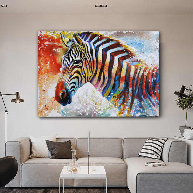 RELIABLE ART Watercolor Zebra Animals Pictures Canvas Painting Wall Art Picture For Living Room Colorful Posters Prints NO FRAME