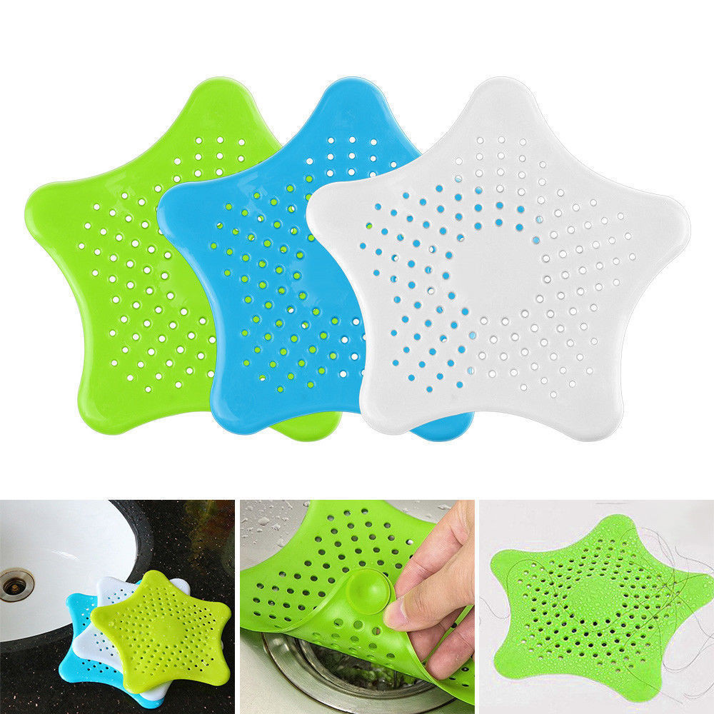 Star Shape Bathroom Silicone Drain Hair Catcher Bath Stopper Plug Sink Strainer Filter Shower  Bathroom Kitchen Sink Strainer SE