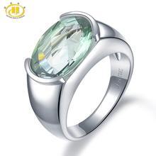 Hutang خاتم المرأة 6.30ct الطبيعية جمشت أخضر خواتم الزفاف 925 فضة الأحجار الكريمة غرامة أنيقة الكلاسيكية مجوهرات هدية