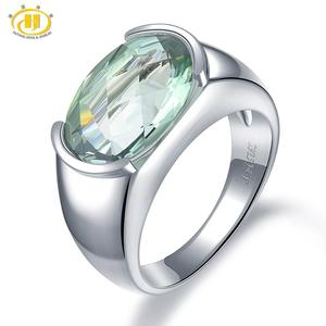 Image 1 - Hutang Womens Ring 6.30ct Natural Green Amethyst Wedding Rings 925 Sterling Silver Gemstone Fine Elegant Classic Jewelry Gift