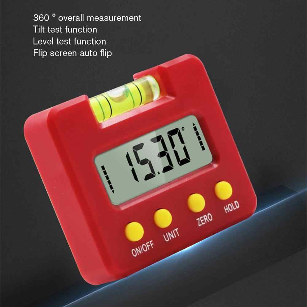 Kırmızı alt güçlü manyetik dijital inklinometre eğim açısı kutu seviyesi yatay açı açı iletki