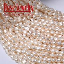 Perles naturelles 100% authentiques pour fabrication de bijoux, cultivées en eau douce, blanches, verticales, pierres de 36 cm perforées à 7-8 mm, qualité 3A
