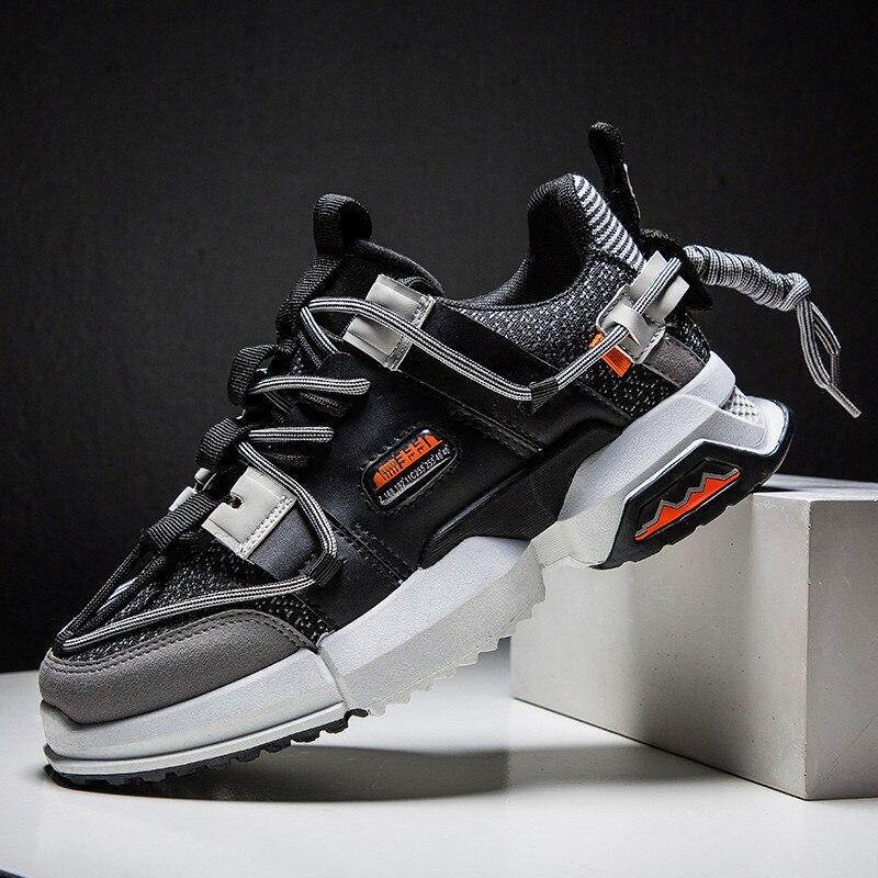 2019 새로운 캐주얼 신발 가을 남성 패션 스니커즈 통기성 가벼운 메쉬 레이스 혼합 색상 플랫 남성 스니커즈 캐주얼 신발