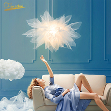 Nordic LED Pendant Lamp Lighting Fixtures Modern Lighting Flower Yarn Romantic Princess Room Lamp Home Deco Bedroom Hanging Lamp