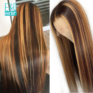 13x6 Lace Front Human Hair Wigs Straight Highlight Honey Blonde 360 Lace Frontal Wig Pre Plucked Brazilian Remy For Women 150%(China)