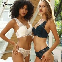 TERMEZY 새로운 섹시 푸시 업 란제리 집합 원활한 레이스 속옷 3/4 컵 브래지어 여성 브래지어 브래지어와 팬티 세트