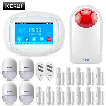 Pantalla táctil KERUI K52 DISEÑO ASOMBROSO pantalla TFT de 4,3 pulgadas a Color WIFI + GSM sistema de alarma de mesa plana detector de humo