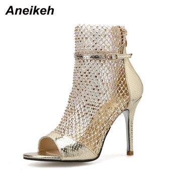 Aneikeh NEW Summer Glitter Gladiator Air mesh Sexy Sandals Shoes Woman High Heel Peep Toe Stripper Zipper Party Thin Heels Pumps 7