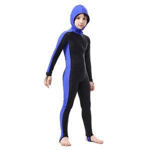 Image 3 - SBART traje de buceo de cuerpo completo para niños, Surf con capucha, esnórquel, natación de manga larga, traje de baño de una pieza para niño y niña, traje de buceo UV H