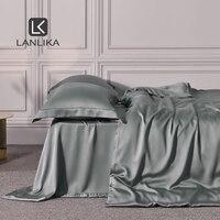Lanlika 2020 6A Grade Noble Gray 100% Natural Silk Bedding Set 25 Momme Silk Queen King Duvet Cover Set Home Textiles Bed Sheet