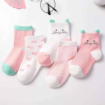 5 Pairs/lot Spring Autumn Cartoon Cat Animal Smooth Cotton Knit Child Socks Children Boy New child Child Lady Boys Socks For 0-6Yrs