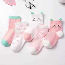 Calcetines de punto de algodón suave con dibujos de gato para bebé, 5 par/lote, primavera y otoño
