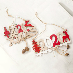 2020 Xmas Letters Elk Tree Wooden Sign Christmas Decoration for Home Pendant Hanging Ornament New 1