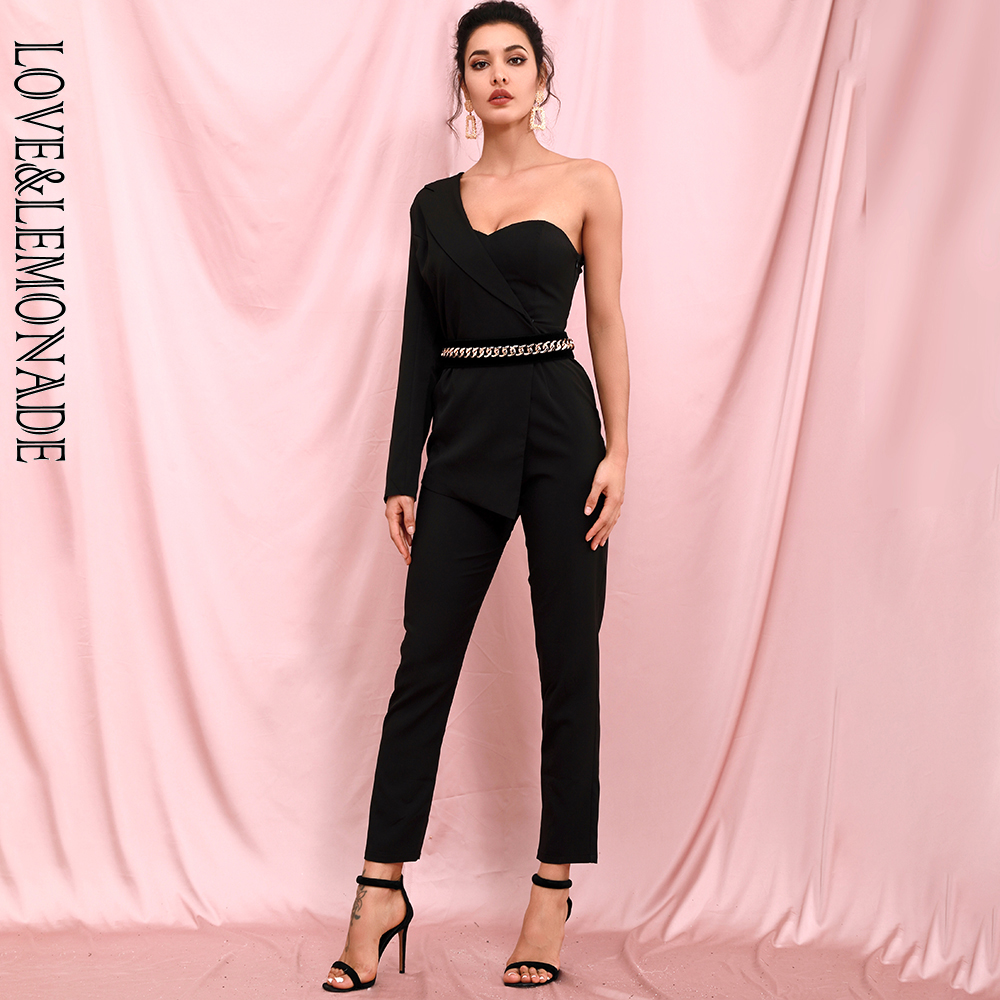 LOVE & LEMONADE Sexy Black Tube Top Two Piece Single Sleeve Bodycon Jumpsuit  LM82378