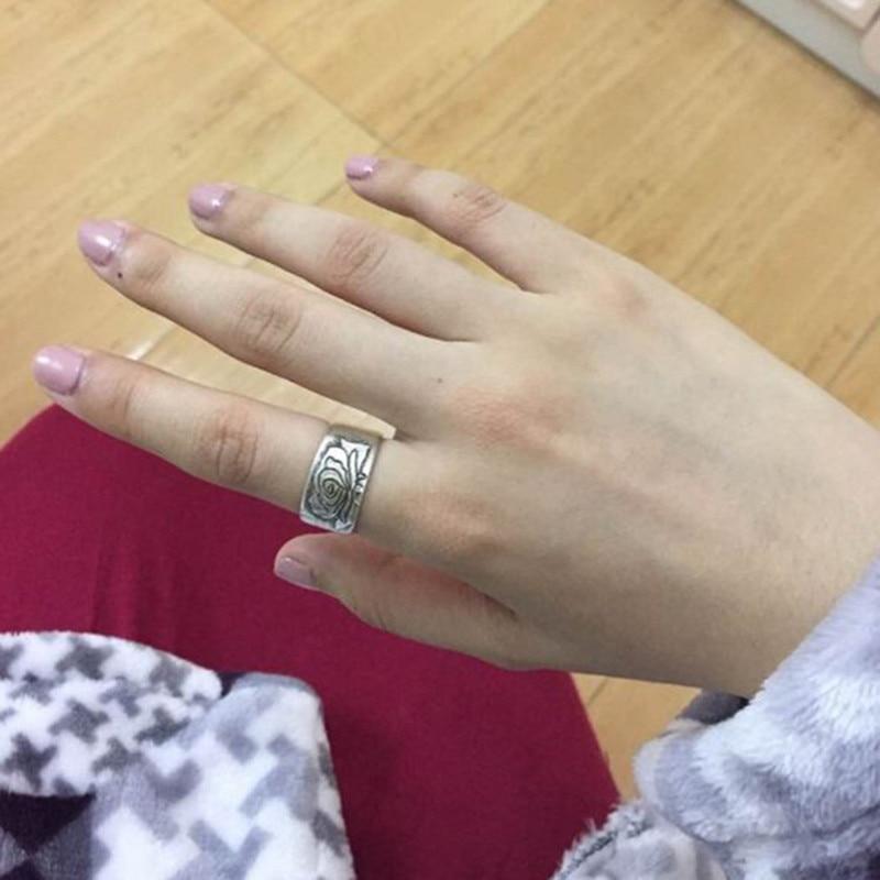Кольца для пар из стерлингового серебра 999 пробы с изображением пиона, Женское Обручальное Кольцо, мужские свадебные винтажные Роскошные ювелирные изделия, этнические модные кольца 2019 - 6