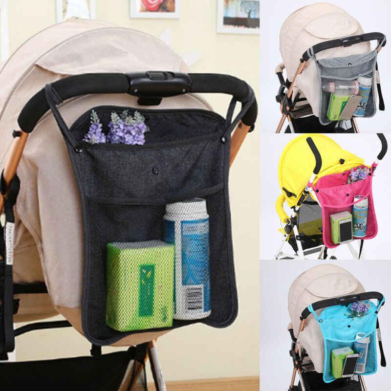 Cochecito de bebé silla de paseo seguro de red de bolsillo taza titular pañal bolsa de almacenamiento organizadora colgante bolsa de accesorio para carrito