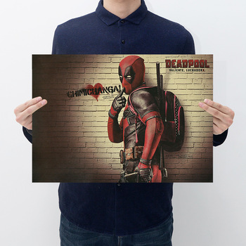 цена Movie deadpool retro kraft paper poster room decoration bar cafe bedroom decoration painting wall stickers онлайн в 2017 году