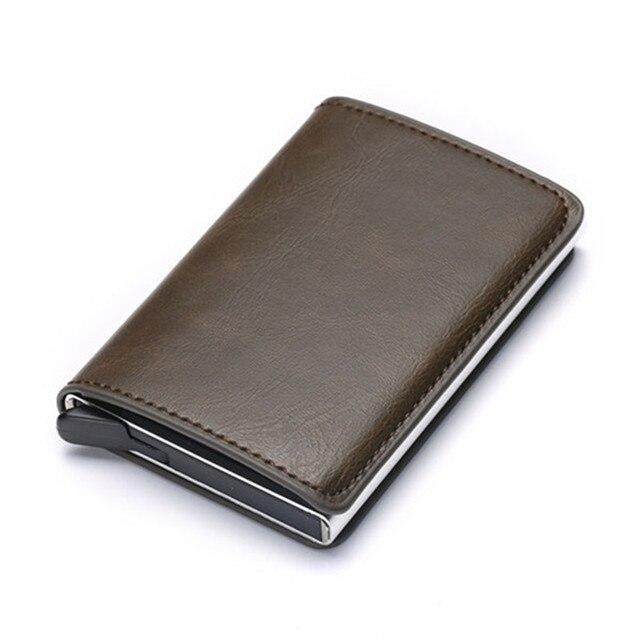 Bycobecy 2021 Credit Card Holder Wallet Men Women RFID  Aluminium Box Vintage Crazy Horse PU Leather Bank Cardholder Case 3