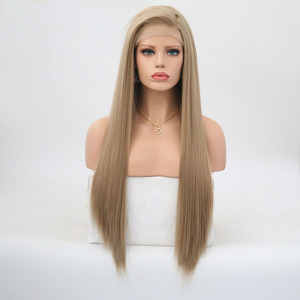 Image 2 - RONGDUOYI Long Silky Straight Hair Synthetic Lace Front Wig Ash Blonde Side Part Cosplay Wig Glueless Front Lace Wigs for Women